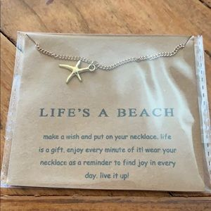 Life's a beach saying starfish necklace